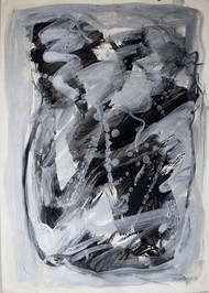 Paper 1 Bsilver by Bhaskar Hande, Abstract Painting, Mixed Media on Paper, Gray color