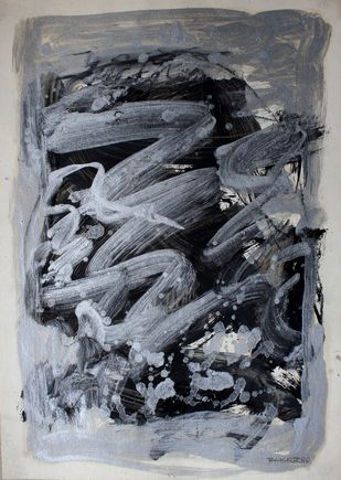 Paper 2 Bsilver by Bhaskar Hande, Abstract Painting, Mixed Media on Paper, Gray color