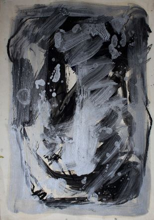 Paper 3 Bsilver by Bhaskar Hande, Abstract Painting, Mixed Media on Paper, Gray color