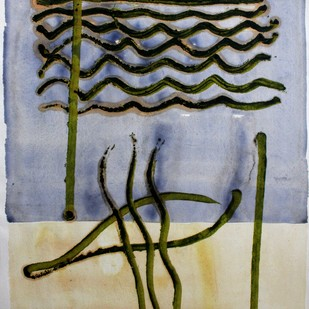 paper 4 by Bhaskar Hande, Abstract Painting, Mixed Media on Paper, Beige color