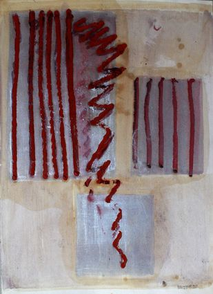 Paper 5 by Bhaskar Hande, Abstract Painting, Mixed Media on Paper, Brown color