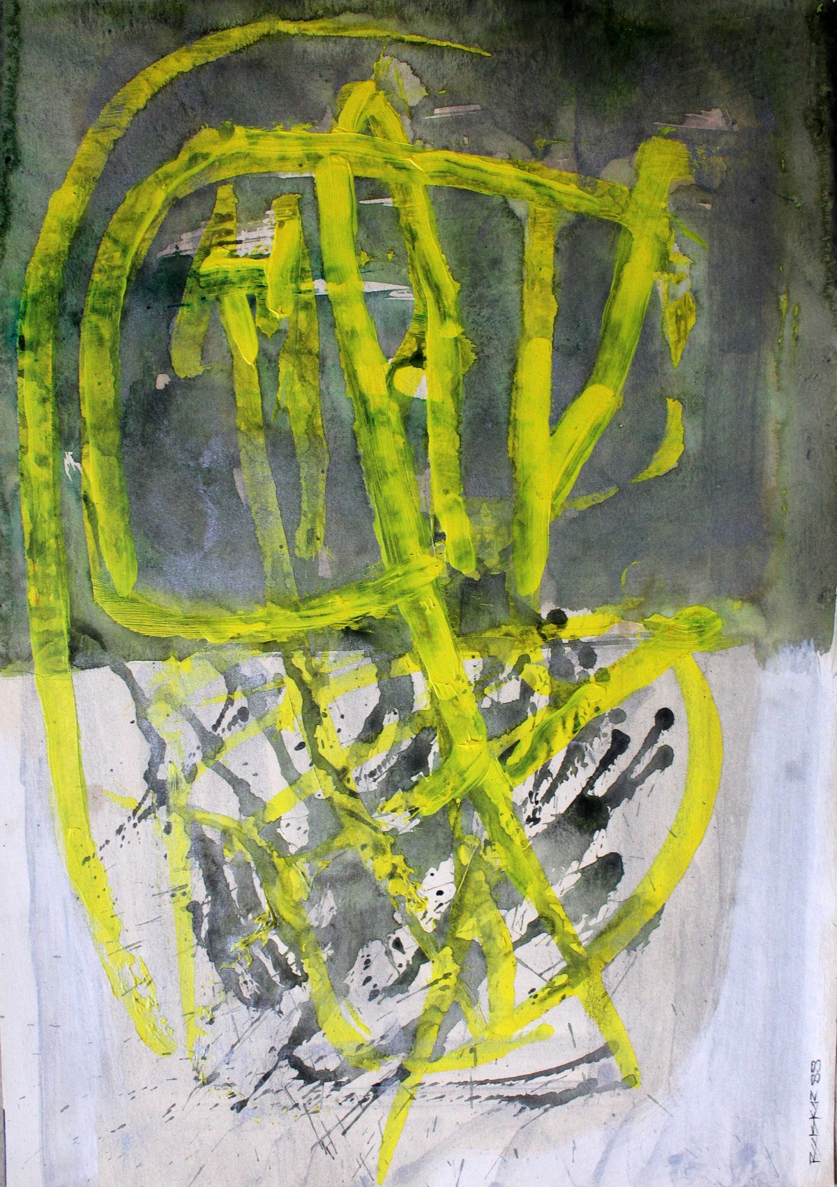 Paper 6 by Bhaskar Hande, Abstract Painting, Acrylic on Paper, Green color