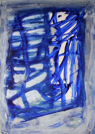 Paper 8 by Bhaskar Hande, Abstract Painting, Acrylic on Paper, Blue color