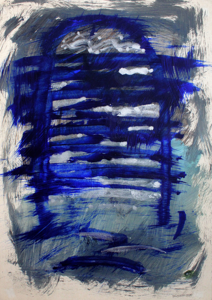 Paper 9 by Bhaskar Hande, Abstract Painting, Acrylic on Paper, Blue color