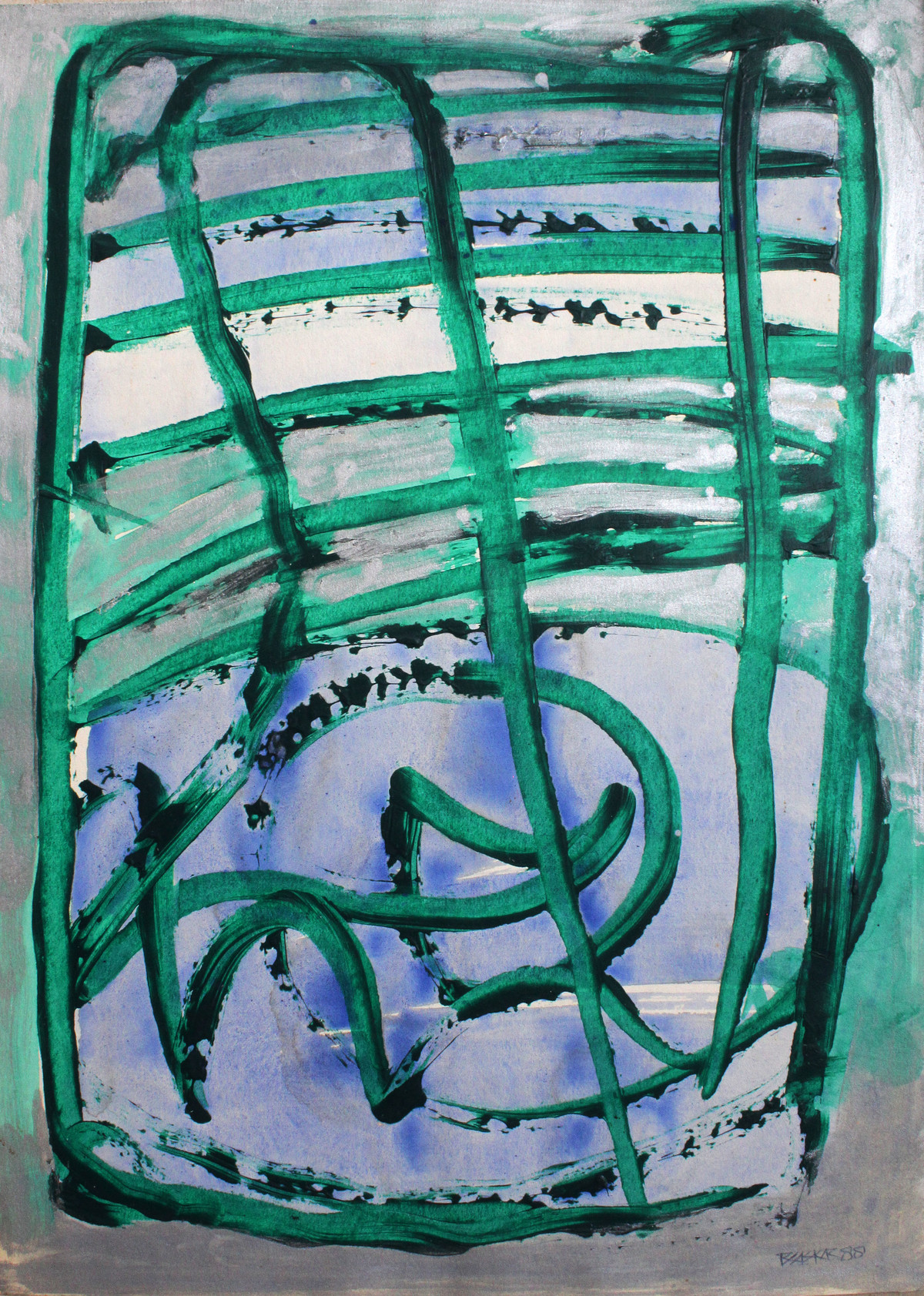 Paper 10 by Bhaskar Hande, Abstract Painting, Acrylic on Paper, Green color
