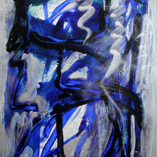 Paper 11 by Bhaskar Hande, Abstract Painting, Acrylic on Paper, Blue color