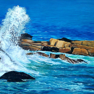 wave by Prakash Pore, Realism Painting, Oil on Canvas, Blue color