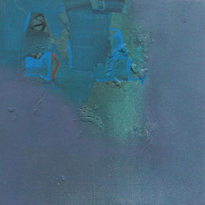 BLUE 27 by Deepak Madhukar Sonar, Abstract Painting, Acrylic on Canvas, Green color