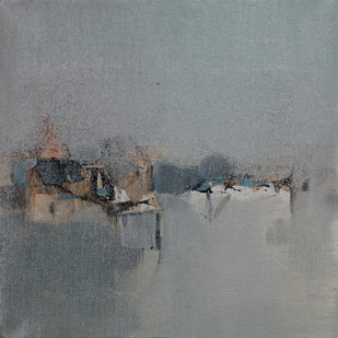 BLUE 77 by Deepak Madhukar Sonar, Abstract Painting, Acrylic on Canvas, Gray color