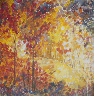 Forest Bloom by Aloke Lal, Impressionism Painting, Acrylic on Canvas, Brown color