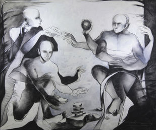 pithoo by Amit Dutt, Expressionism Painting, Acrylic on Canvas, Gray color