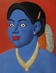 untitled by Ravinder Reddy, Expressionism, Traditional Sculpture | 3D, Bronze, Blue color