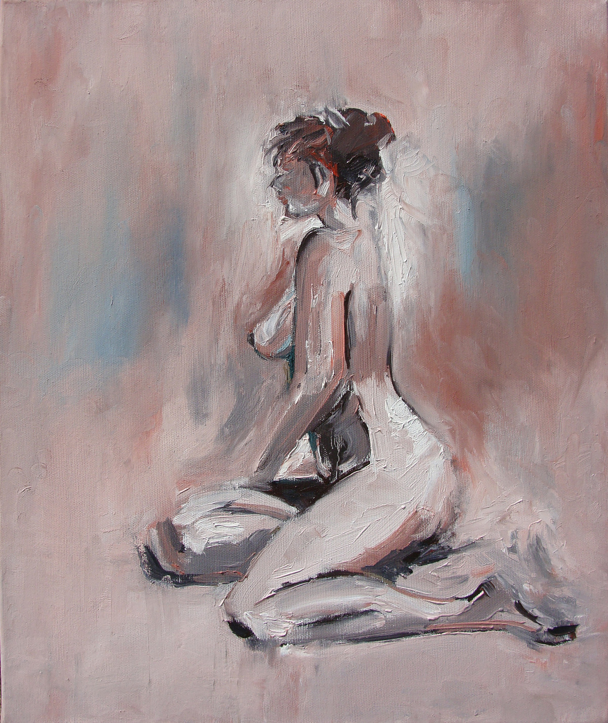 Nude by Animesh Roy, Decorative Painting, Oil on Linen, Brown color