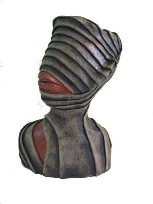 Head with lip by Vivek Prasad, Art Deco Sculpture | 3D, Paper Clay, White color