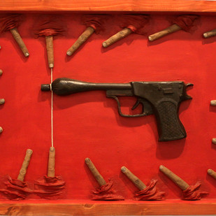 Gun of peace by Vivek Prasad, Decorative Sculpture | 3D, Mixed Media, Red color