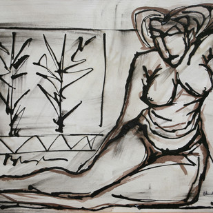 Untitled by R.B Bhaskaran, Illustration Drawing, Mixed Media on Paper, Gray color