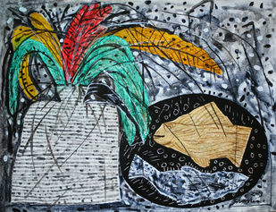 untitled by R.B Bhaskaran, Expressionism Drawing, Mixed Media on Paper, Green color