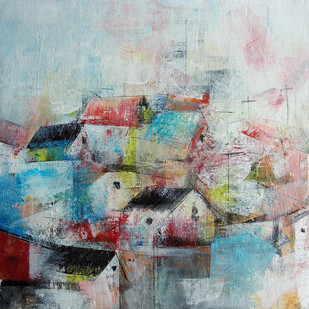 The Village Houses by M Singh, Abstract Painting, Acrylic on Canvas, Gray color