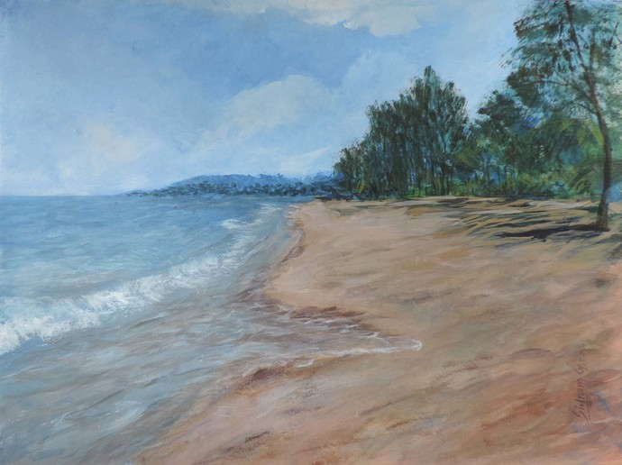 Konkan-G by SIDRAM G., Impressionism Painting, Acrylic on Board, Brown color