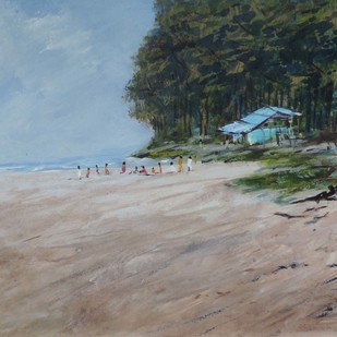 Konkan-H by SIDRAM G., Impressionism Painting, Acrylic on Board, Brown color