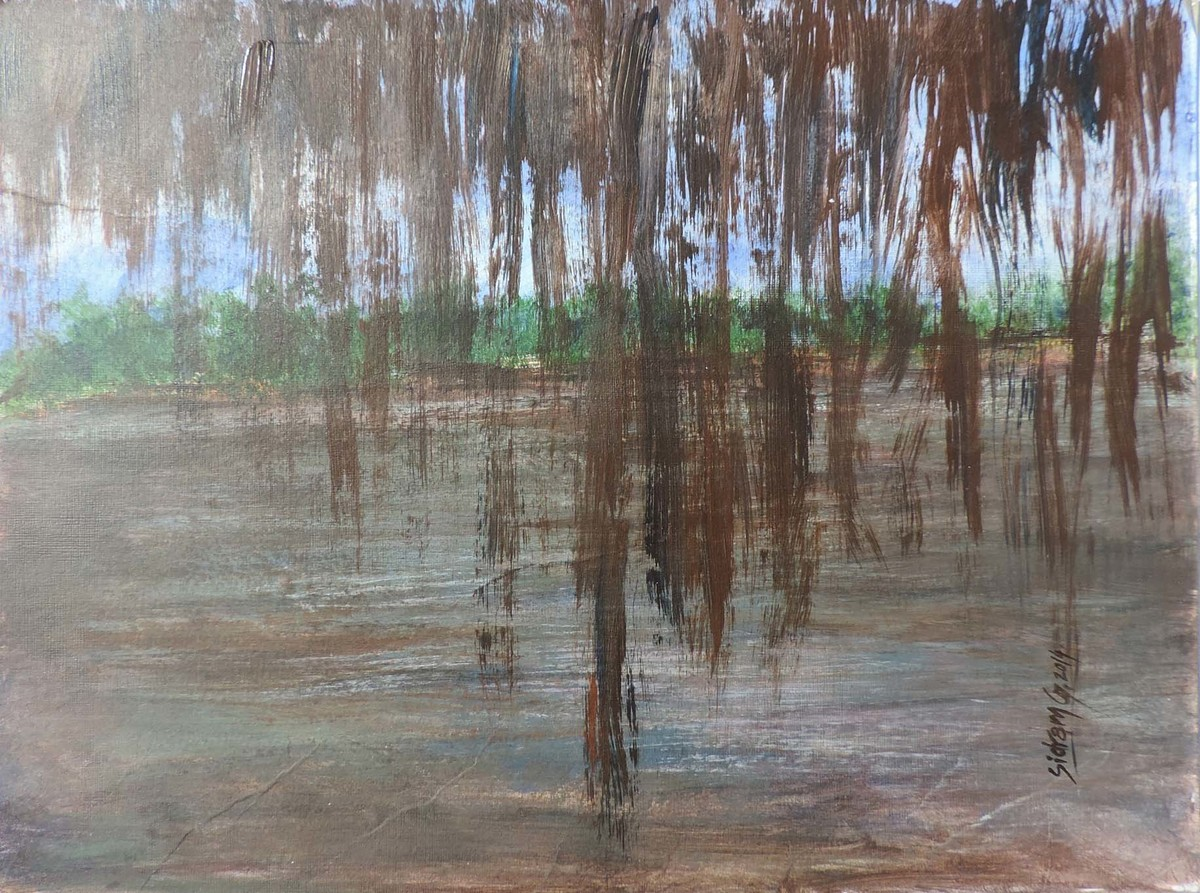Lake-A by SIDRAM G., Impressionism Painting, Acrylic on Board, Brown color