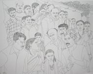 Untitled by Laxman Aelay, Illustration Drawing, Ink on Paper, Gray color
