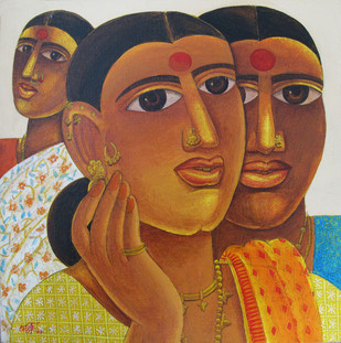 Untitled by Laxman Aelay, Expressionism Painting, Oil on Canvas Board, Brown color