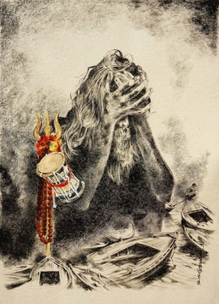 The Lost Saint by Shambhu Nath Goswami, Traditional Painting, Mixed Media on Paper, Beige color