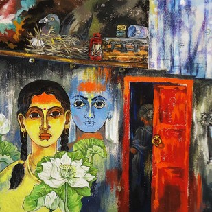 Twins Beauty by Shambhu Nath Goswami, Traditional Painting, Mixed Media on Paper, Brown color