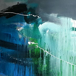 space ( series ) by Gulrez Ali, Abstract Painting, Acrylic on Canvas, Cyan color