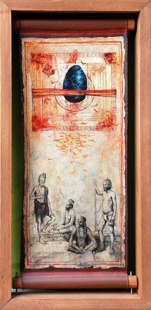 Faith by Shuvendu Sarkar, Decorative Painting, Acrylic on Canvas, Brown color