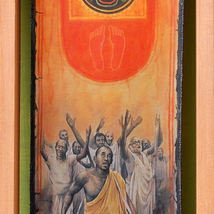 Faith II by Shuvendu Sarkar, Decorative, Folk Painting, Acrylic on Canvas, Brown color