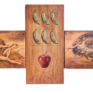 An Outset Of Beginning by Shuvendu Sarkar, Decorative Painting, Acrylic on Wood, Brown color