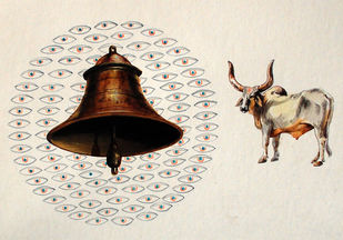 Holy Cow II by Shuvendu Sarkar, Impressionism Painting, Acrylic on Paper, Beige color