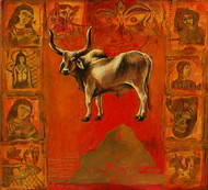 Holy Cow by Shuvendu Sarkar, Expressionism Painting, Acrylic on Canvas, Brown color
