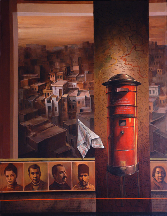 Tracing The Addressee I by Shuvendu Sarkar, Expressionism Painting, Acrylic on Canvas, Brown color
