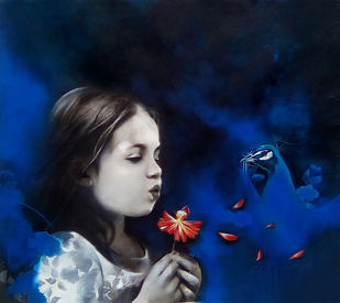 Expression of girl by Mithun Dutta, Decorative Painting, Mixed Media on Canvas, Blue color