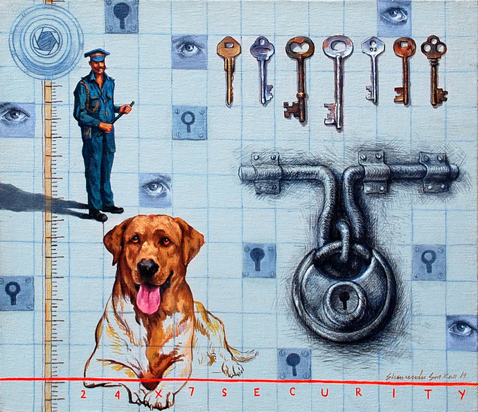 24 x 7 security by Shuvendu Sarkar, Expressionism Painting, Acrylic on Canvas, Cyan color