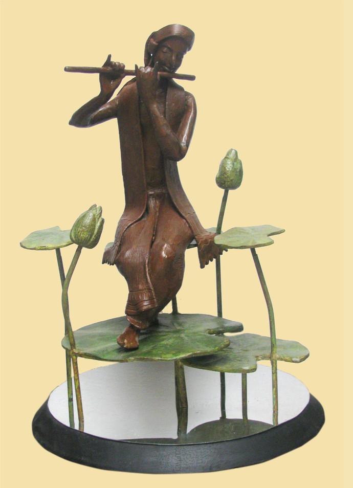 Melody by Subrata Paul, Decorative Sculpture | 3D, Bronze, Beige color