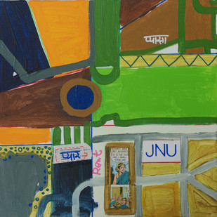 Rent by Harpreet Singh, Decorative Painting, Acrylic on Canvas, Green color