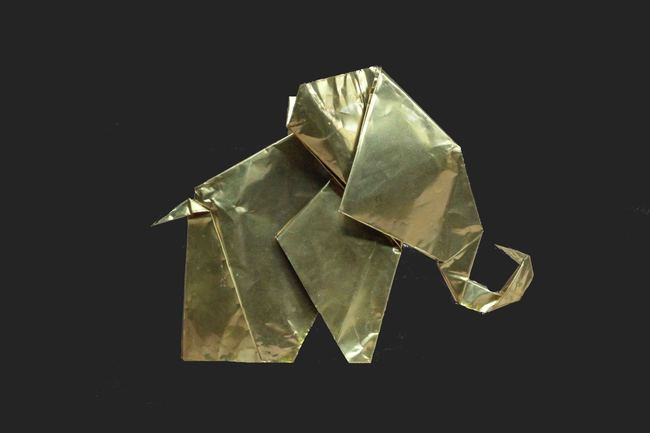 Metal Origami Elephant Artifact By SITE art store