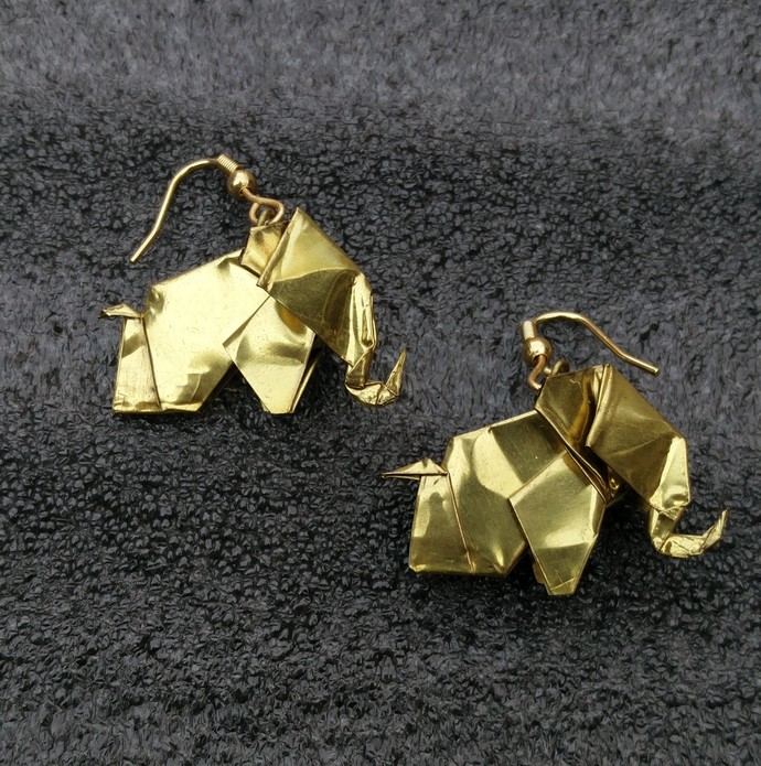 Origami Elephant Earrings by SITE art store, Contemporary Earring