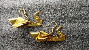 Origami Swan Earrings by SITE art store, Contemporary Earring, Brass, Gray color