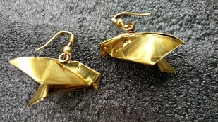 Origami Dove Earrings by SITE art store, Contemporary Earring, Brass, Gray color