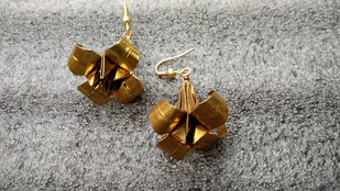 Origami Lily Earrings by SITE art store, Art Jewellery, Contemporary Earring, Brass, Gray color