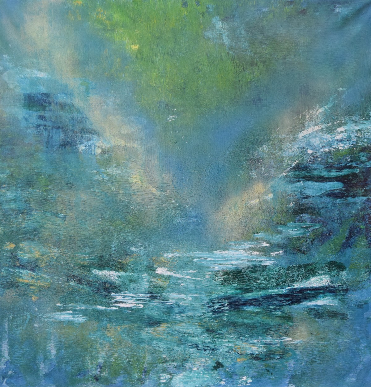 Untitled (Forest- water) by Mahesh Sharma, Impressionism Painting, Acrylic on Canvas, Green color