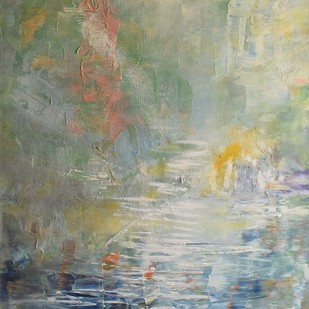 Untitled (Reflections) by Mahesh Sharma, Impressionism Painting, Acrylic on Canvas, Beige color