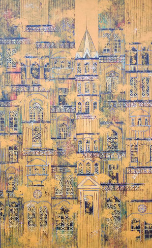 OLD IS GOLD - 785 by Suresh Gulage, Art Deco Painting, Acrylic on Canvas, Beige color