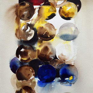 SHIFTING IMAGES 02 by Samir Mondal, Abstract Painting, Watercolor on Paper, Beige color