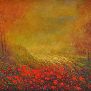 Landscape IV by Zargar Zahoor, Impressionism Painting, Acrylic on Canvas, Brown color